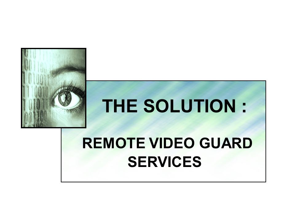THE SOLUTION : REMOTE VIDEO GUARD SERVICES.