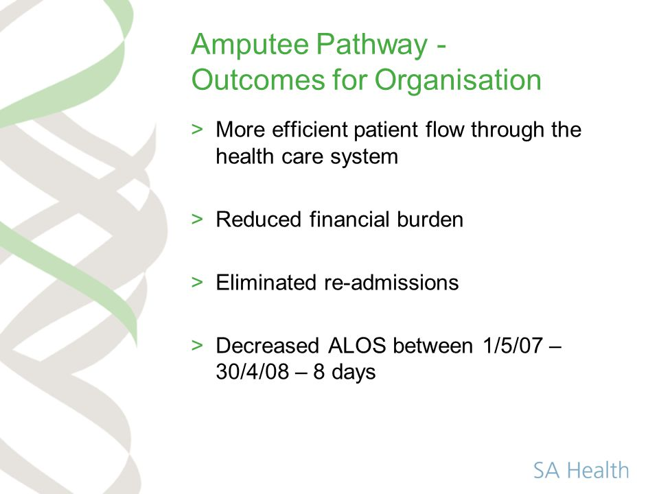 Amputee Pathway - Outcomes for Organisation >More efficient patient flow through the health care system >Reduced financial burden >Eliminated re-admissions >Decreased ALOS between 1/5/07 – 30/4/08 – 8 days