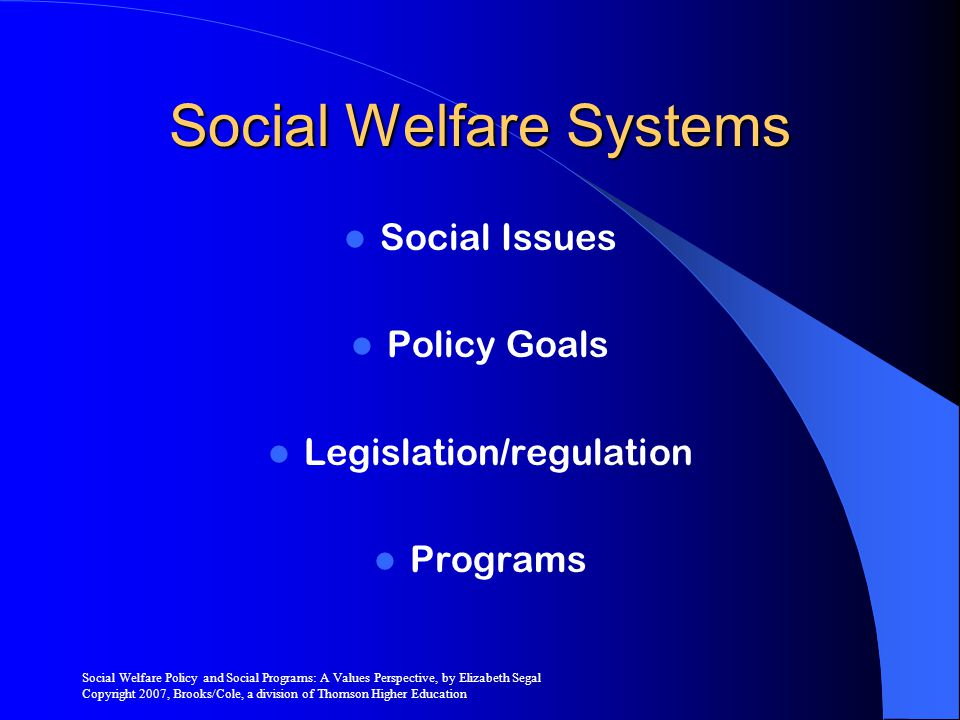 Social Welfare Policy and Social Programs: A Values Perspective, by Elizabeth Segal Copyright 2007, Brooks/Cole, a division of Thomson Higher Education Competing Beliefs Undeserving Individual Responsibility Individual Change Self-sufficiency Entitlement Aid to Those we Know Deserving Social Responsibility Social Change Social Support Handout Aid Stranger