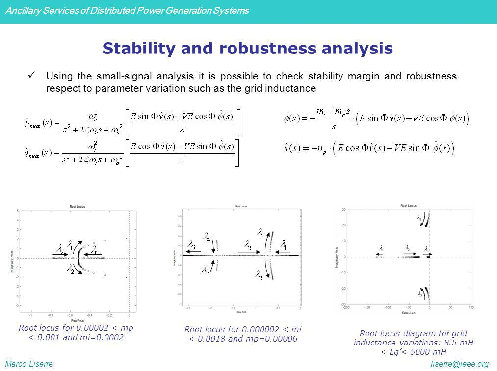 Ancillary Services of Distributed Power Generation Systems Marco Liserre liserre@ieee.org Stability and robustness analysis Root locus for 0.00002 < mp < 0.001 and mi=0.0002 Root locus for 0.000002 < mi < 0.0018 and mp=0.00006 Root locus diagram for grid inductance variations: 8.5 mH < Lg< 5000 mH Using the small-signal analysis it is possible to check stability margin and robustness respect to parameter variation such as the grid inductance