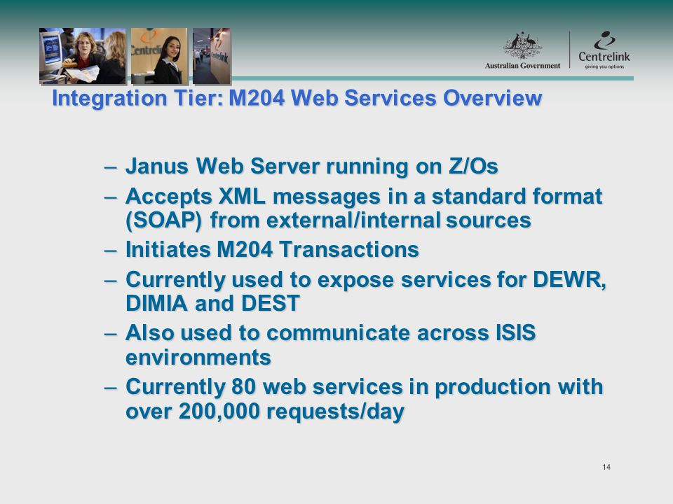 14 Integration Tier: M204 Web Services Overview –Janus Web Server running on Z/Os –Accepts XML messages in a standard format (SOAP) from external/internal sources –Initiates M204 Transactions –Currently used to expose services for DEWR, DIMIA and DEST –Also used to communicate across ISIS environments –Currently 80 web services in production with over 200,000 requests/day
