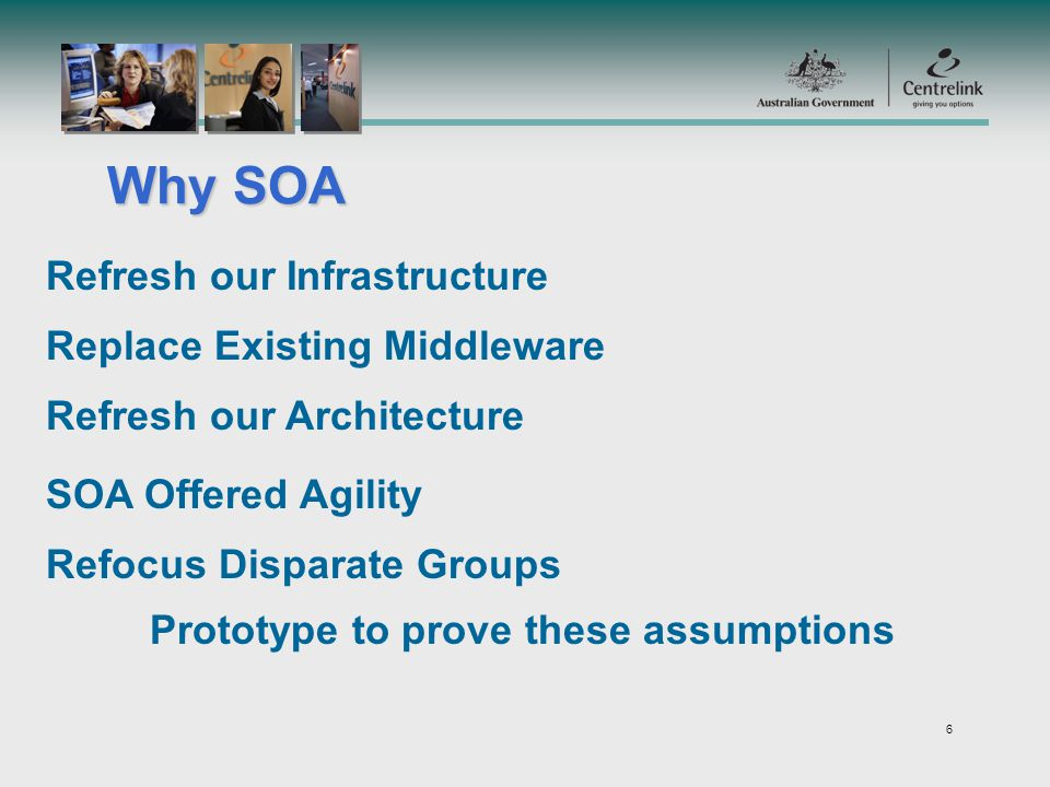 6 Why SOA Refresh our Infrastructure Replace Existing Middleware Refresh our Architecture SOA Offered Agility Refocus Disparate Groups Prototype to prove these assumptions