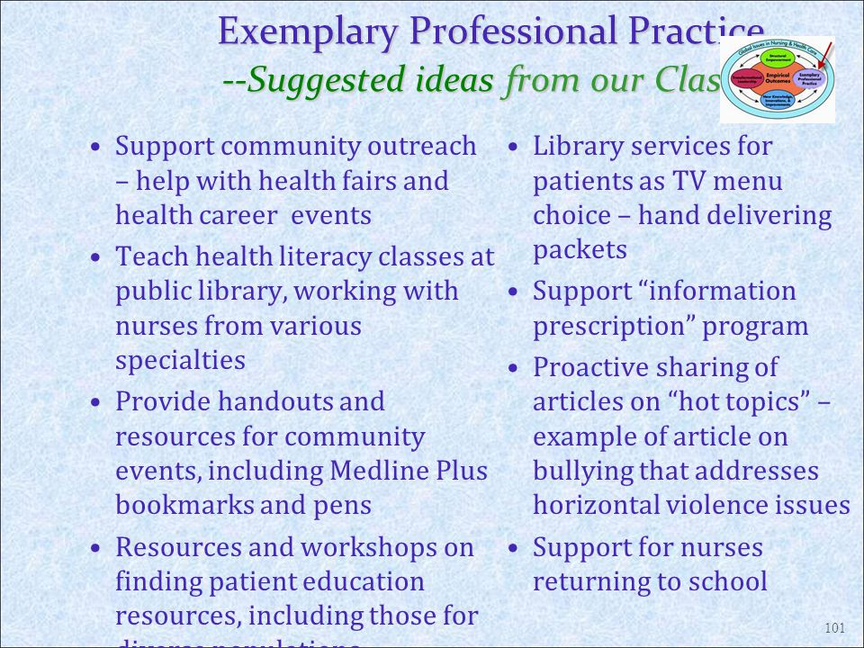 Exemplary Professional Practice --Suggested ideas from our Classes Support community outreach – help with health fairs and health career events Teach