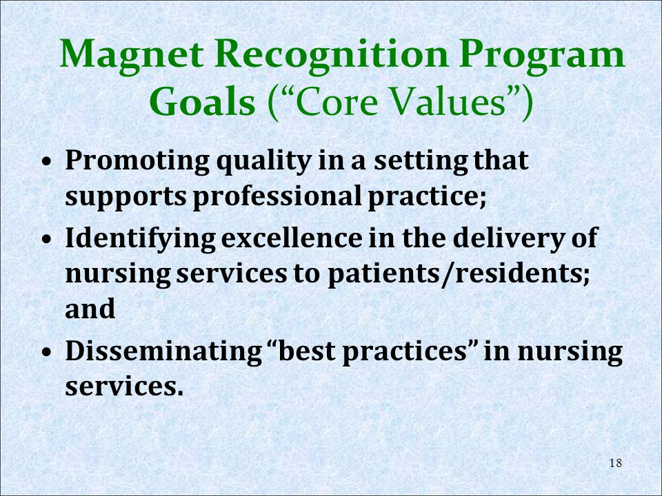 Magnet Recognition Program Goals (Core Values) Promoting quality in a setting that supports professional practice; Identifying excellence in the deliv