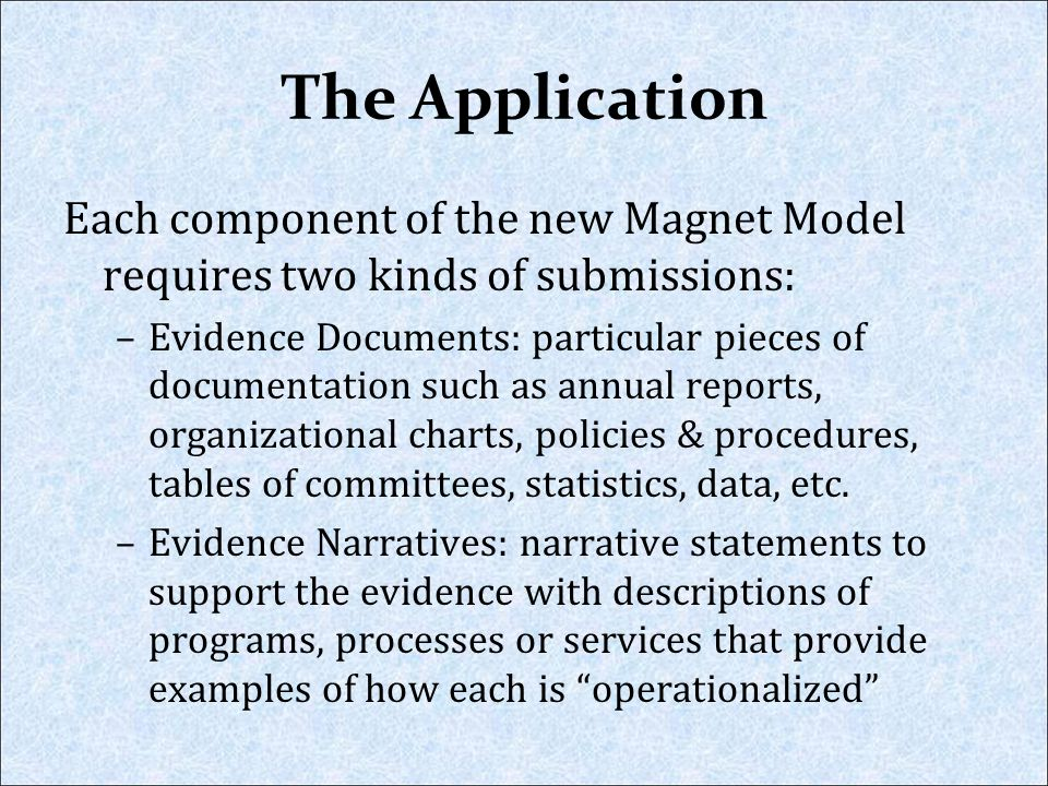 The Application Each component of the new Magnet Model requires two kinds of submissions: –Evidence Documents: particular pieces of documentation such