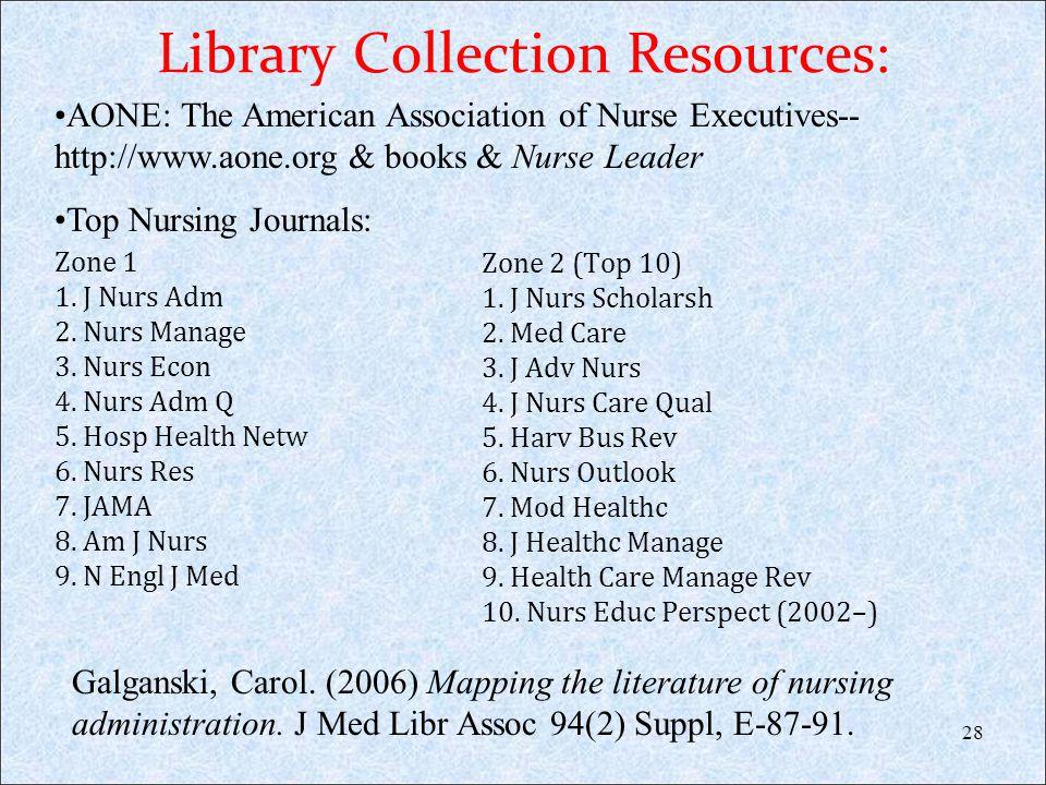 Library Collection Resources: Zone 1 1. J Nurs Adm 2. Nurs Manage 3. Nurs Econ 4. Nurs Adm Q 5. Hosp Health Netw 6. Nurs Res 7. JAMA 8. Am J Nurs 9. N