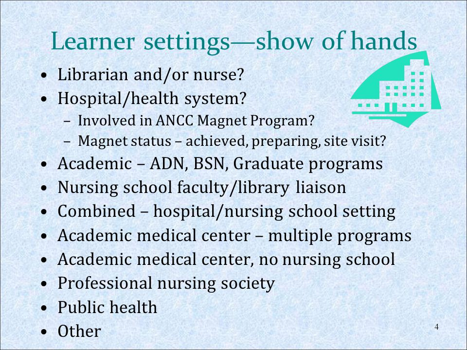Course Objectives Participants will be able to: Describe the ANCC Magnet initiative and its significance to hospitals and nurses.