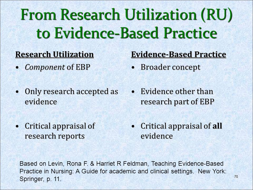 70 From Research Utilization (RU) to Evidence-Based Practice Research Utilization Component of EBPComponent of EBP Only research accepted as evidenceO