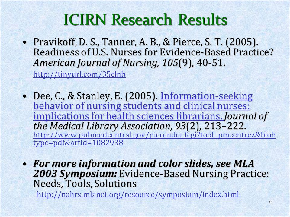 73 ICIRN Research Results Pravikoff, D. S., Tanner, A. B., & Pierce, S. T. (2005). Readiness of U.S. Nurses for Evidence-Based Practice? American Jour