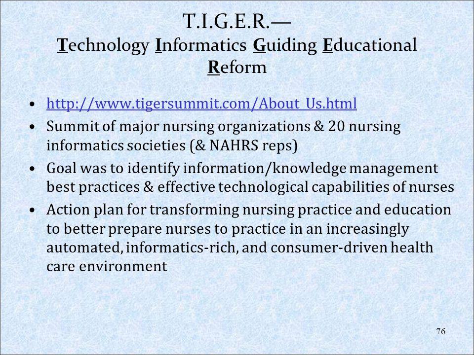 T.I.G.E.R. Technology Informatics Guiding Educational Reform http://www.tigersummit.com/About_Us.html Summit of major nursing organizations & 20 nursi