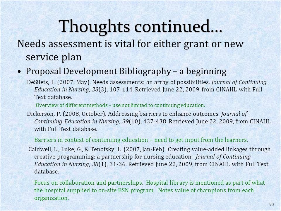 Thoughts continued… Needs assessment is vital for either grant or new service plan Proposal Development Bibliography – a beginning DeSilets, L. (2007,