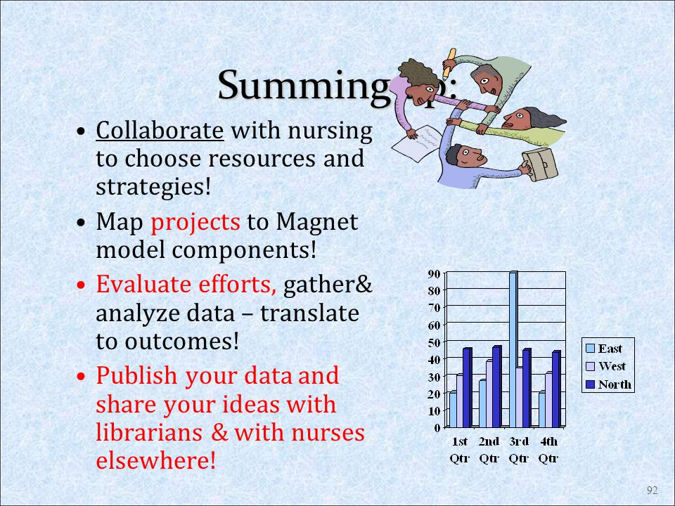 Summing up: Collaborate with nursing to choose resources and strategies! Map projects to Magnet model components! Evaluate efforts, gather& analyze da
