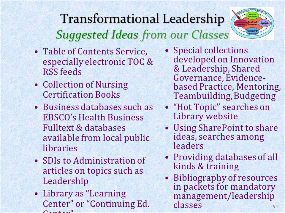Transformational Leadership Suggested Ideas from our Classes Table of Contents Service, especially electronic TOC & RSS feeds Collection of Nursing Ce