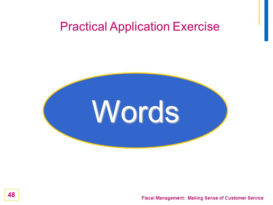 48 Fiscal Management: Making Sense of Customer Service Practical Application Exercise Words