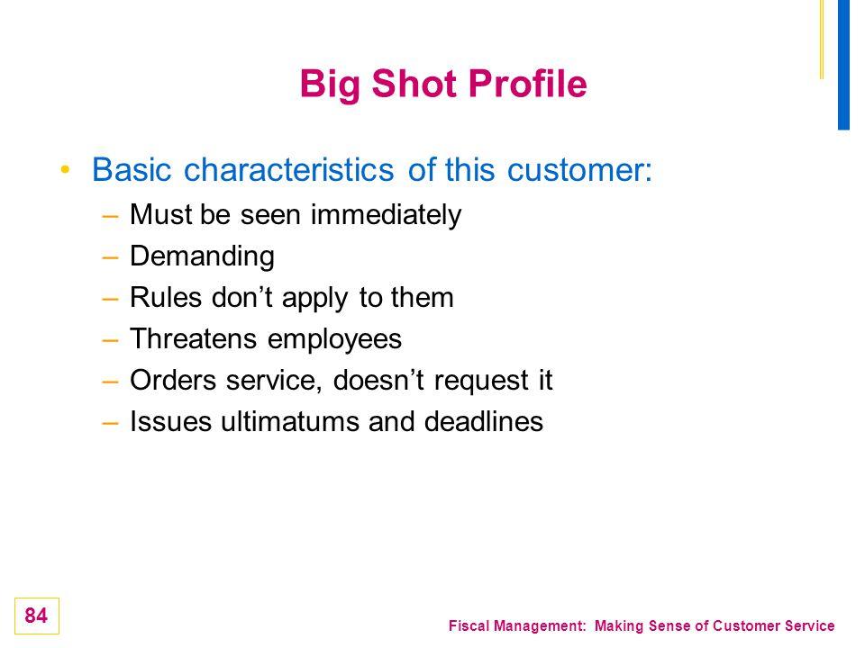 84 Fiscal Management: Making Sense of Customer Service Big Shot Profile Basic characteristics of this customer: –Must be seen immediately –Demanding –
