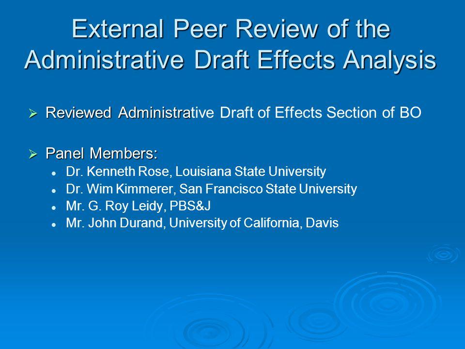 External Peer Review of the Administrative Draft Effects Analysis Reviewed Administra Reviewed Administrative Draft of Effects Section of BO Panel Members: Panel Members: Dr.