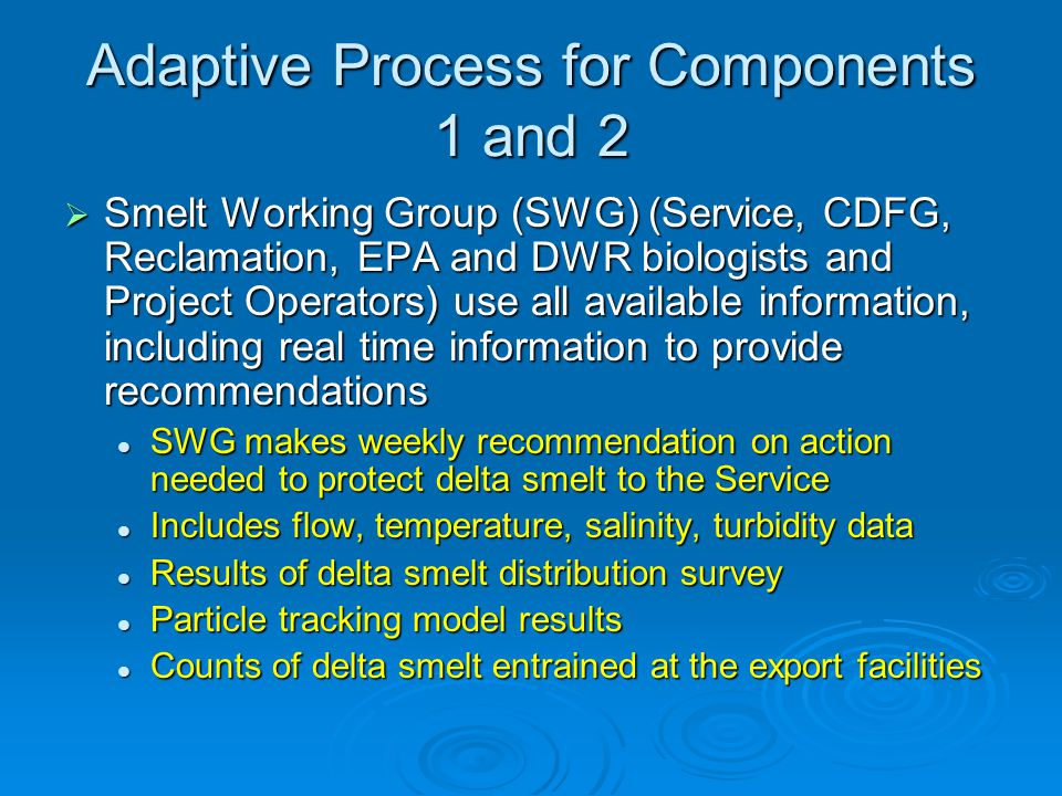 Adaptive Process for Components 1 and 2 Smelt Working Group (SWG) (Service, CDFG, Reclamation, EPA and DWR biologists and Project Operators) use all available information, including real time information to provide recommendations Smelt Working Group (SWG) (Service, CDFG, Reclamation, EPA and DWR biologists and Project Operators) use all available information, including real time information to provide recommendations SWG makes weekly recommendation on action needed to protect delta smelt to the Service SWG makes weekly recommendation on action needed to protect delta smelt to the Service Includes flow, temperature, salinity, turbidity data Includes flow, temperature, salinity, turbidity data Results of delta smelt distribution survey Results of delta smelt distribution survey Particle tracking model results Particle tracking model results Counts of delta smelt entrained at the export facilities Counts of delta smelt entrained at the export facilities