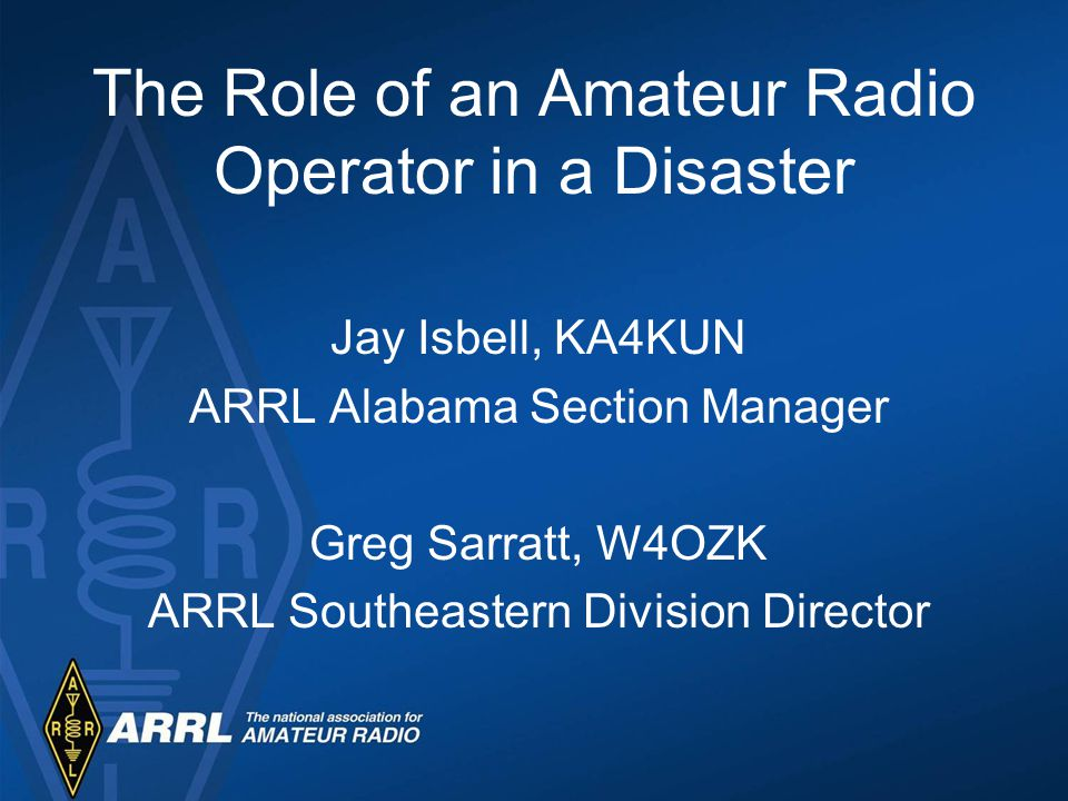 ARRL ARES Program Field Structure National Manager Training Programs Equipment and support Exercises / Drills / Practice MOU / SOU with Served Agencies