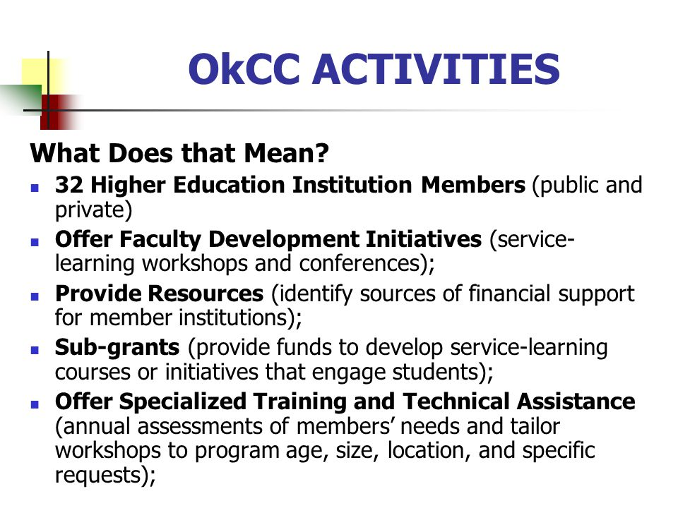 OkCC ACTIVITIES What Does that Mean.