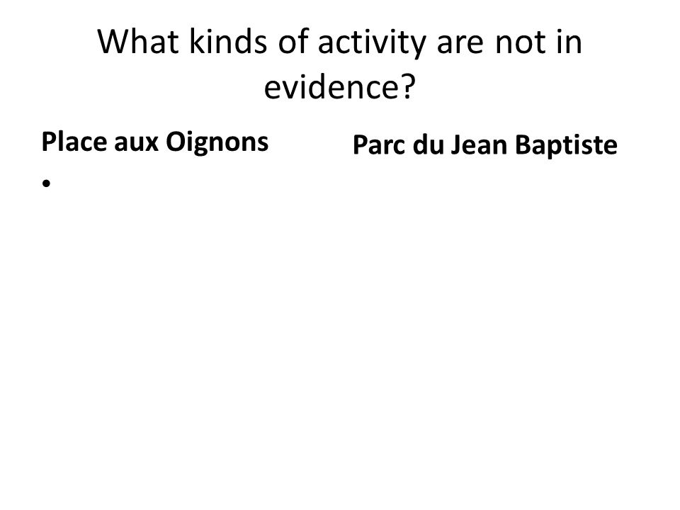 What kinds of activity are not in evidence? Place aux Oignons Parc du Jean Baptiste