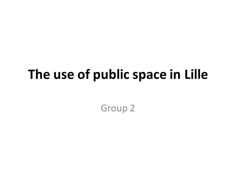 The use of public space in Lille Group 2