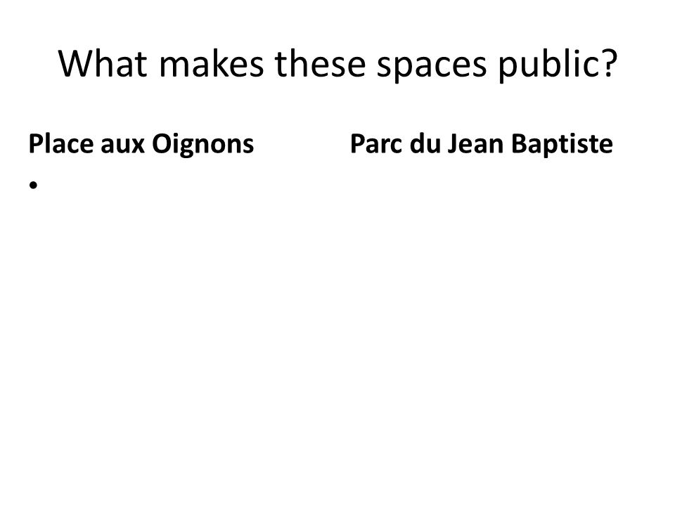 What makes these spaces public? Place aux Oignons Parc du Jean Baptiste