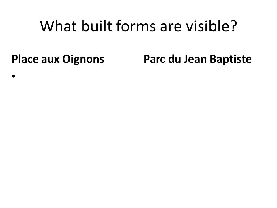 What built forms are visible? Place aux Oignons Parc du Jean Baptiste