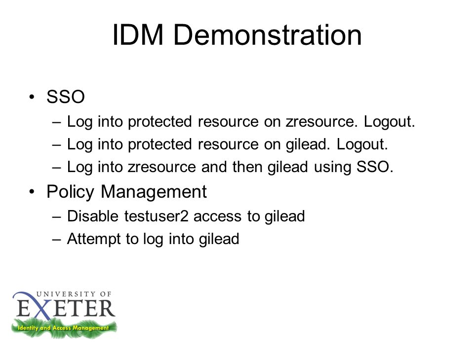 IDM Demonstration SSO –Log into protected resource on zresource.