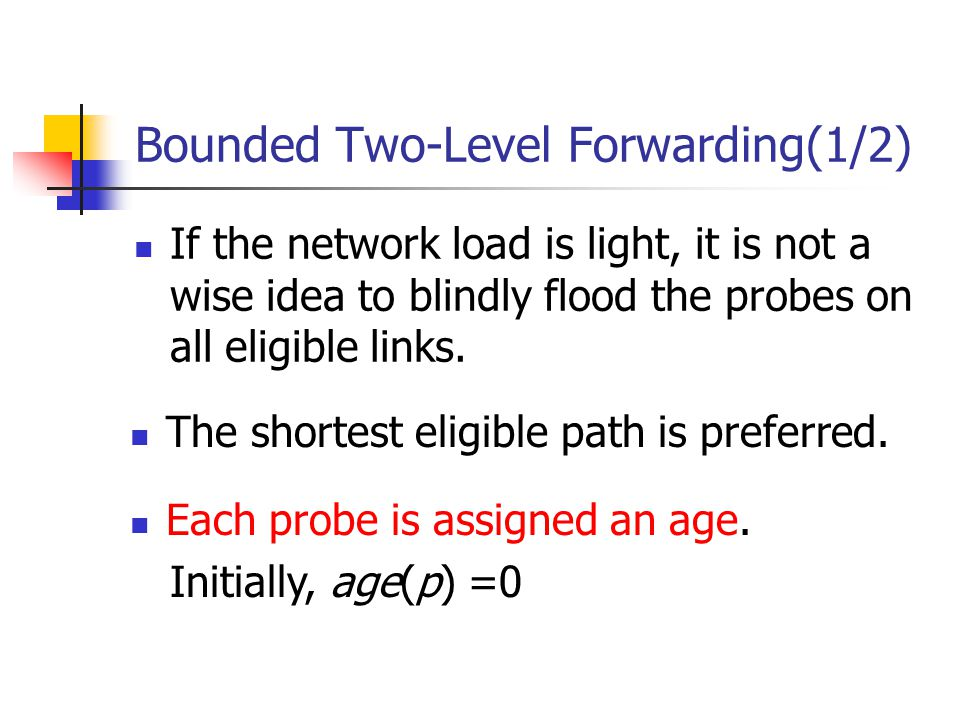 Bounded Two-Level Forwarding(1/2) If the network load is light, it is not a wise idea to blindly flood the probes on all eligible links.
