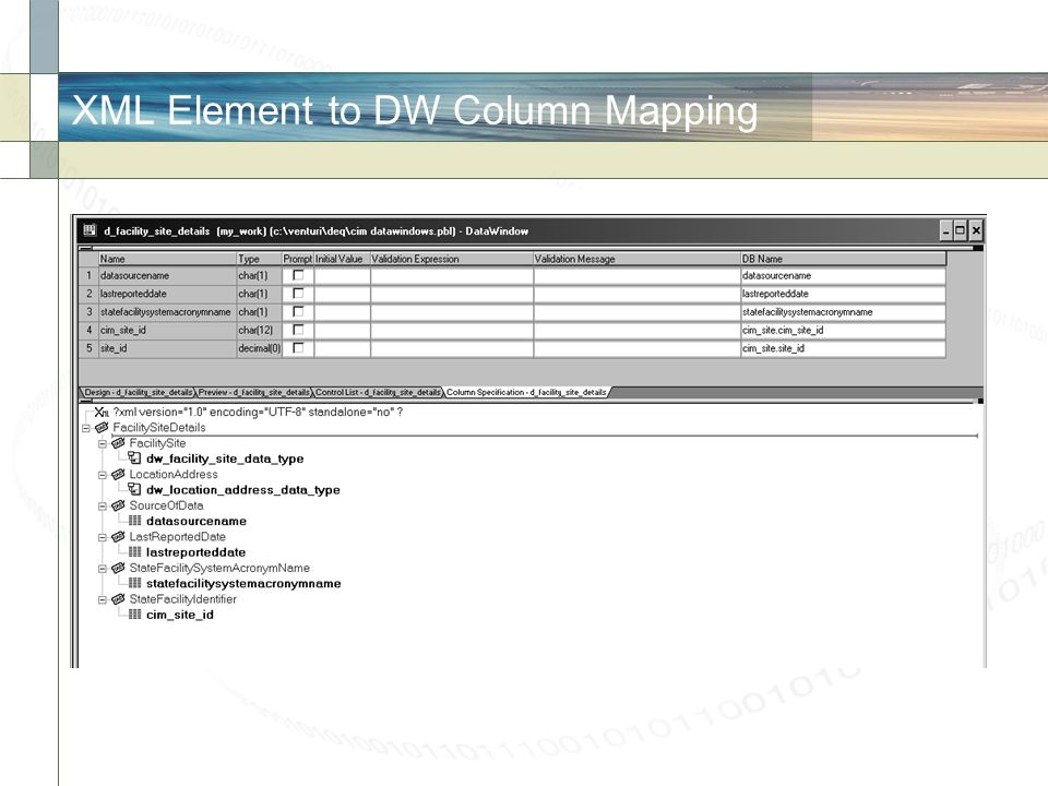 XML Element to DW Column Mapping