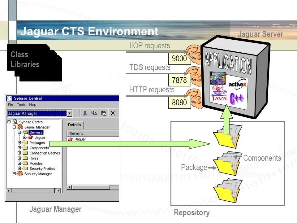 Jaguar CTS Environment Jaguar Server 9000 Repository Jaguar Manager IIOP requests Package Components 7878 TDS requests 8080 HTTP requests Class Libraries