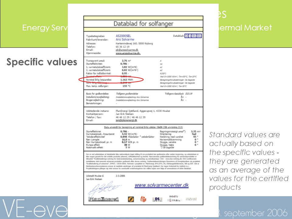 Solar Thermal Certificates Energy Service Companies Supporting the Solar Thermal Market Jan Erik Nielsen, PlanEnergi Specific values Standard values are actually based on the specific values - they are generated as an average of the values for the certified products
