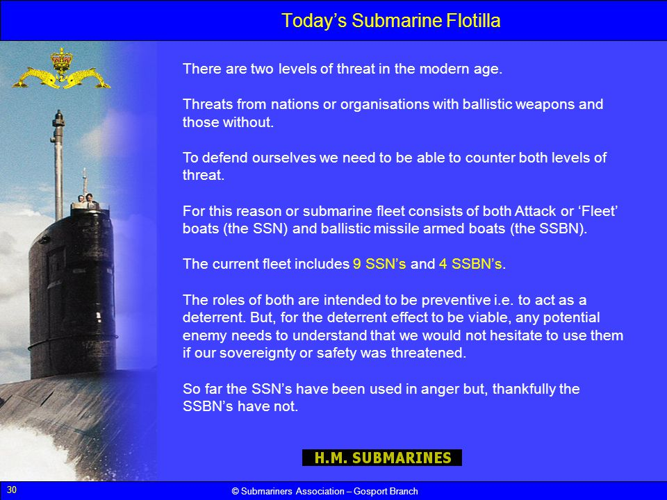 30 © Submariners Association – Gosport Branch Todays Submarine Flotilla There are two levels of threat in the modern age. Threats from nations or orga