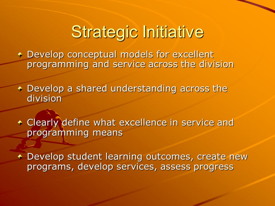 Strategic Initiative Develop conceptual models for excellent programming and service across the division Develop a shared understanding across the division Clearly define what excellence in service and programming means Develop student learning outcomes, create new programs, develop services, assess progress