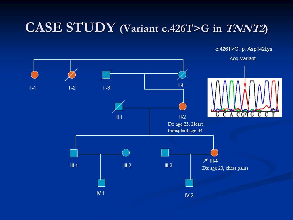 CASE STUDY (Variant c.426T>G in TNNT2) c.426T>G; p. Asp142Lys seq variant I -1I -2 I-4 I -3 II-1 II-2 III-1 III-2 III-3 III-4 IV-1 IV-2 Dx age 20, che