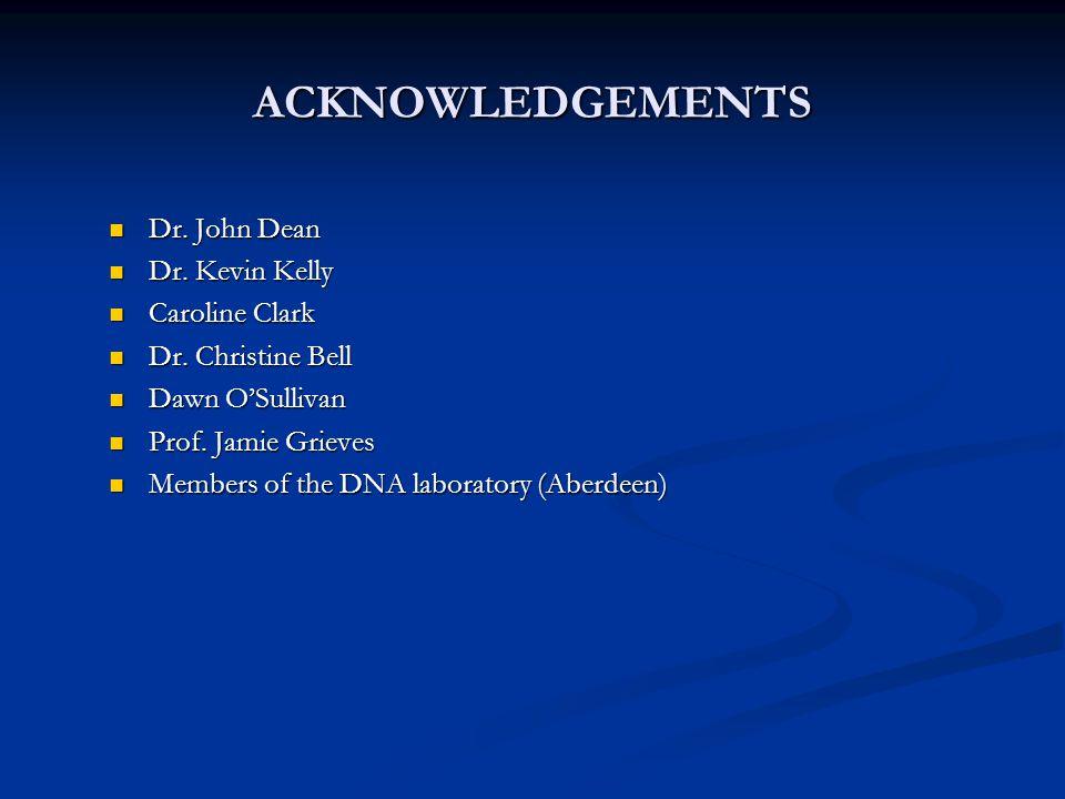 ACKNOWLEDGEMENTS Dr. John Dean Dr. John Dean Dr. Kevin Kelly Dr. Kevin Kelly Caroline Clark Caroline Clark Dr. Christine Bell Dr. Christine Bell Dawn