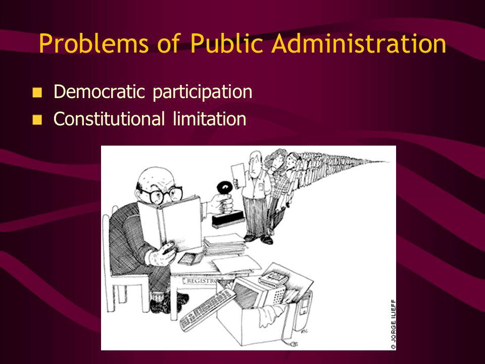 Problems of Public Administration Democratic participation Constitutional limitation