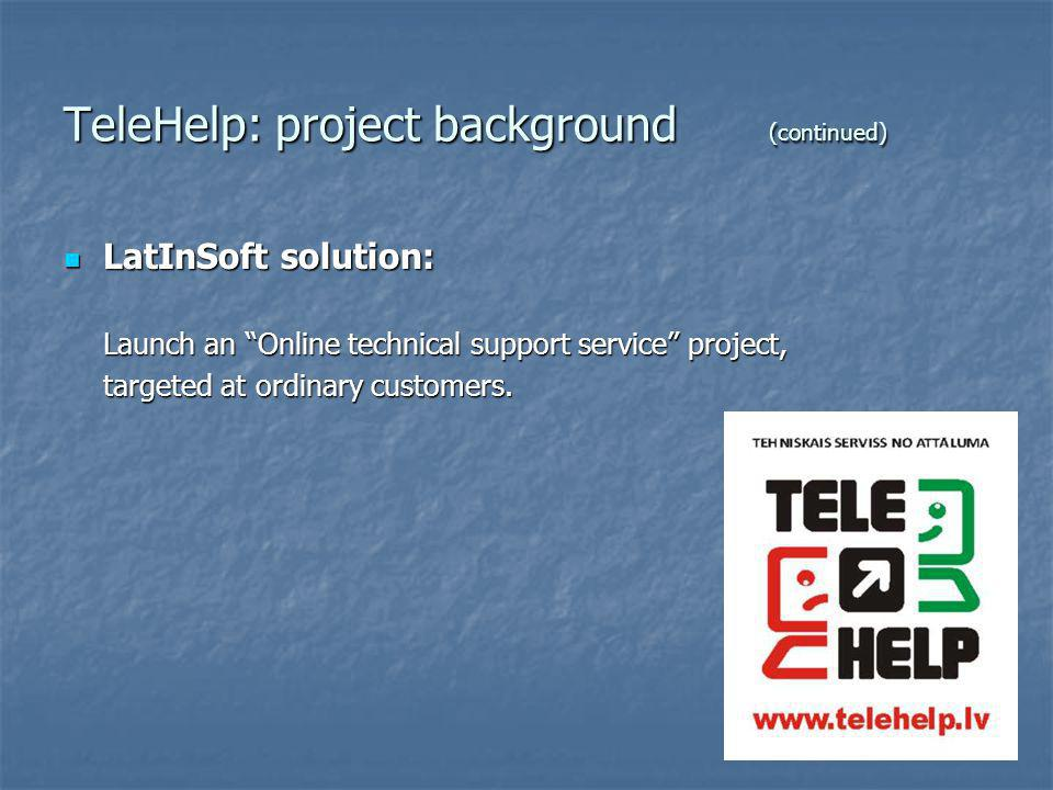 TeleHelp: online technical support service Try TeleHelp yourself: www.telehelp.lv More about TeleHelp operator: LatInSoft SIA www.latinsoft.lv TeleHelp method – Latvian patent No.13639 (2007).