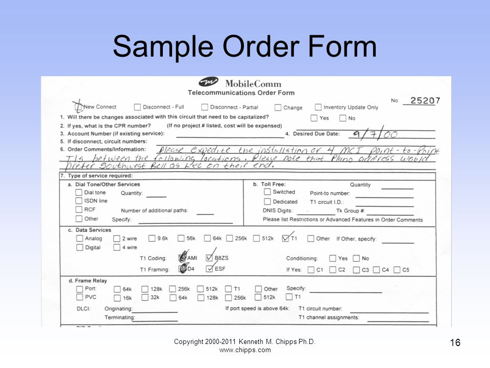 Sample Order Form Copyright 2000-2011 Kenneth M. Chipps Ph.D. www.chipps.com 16
