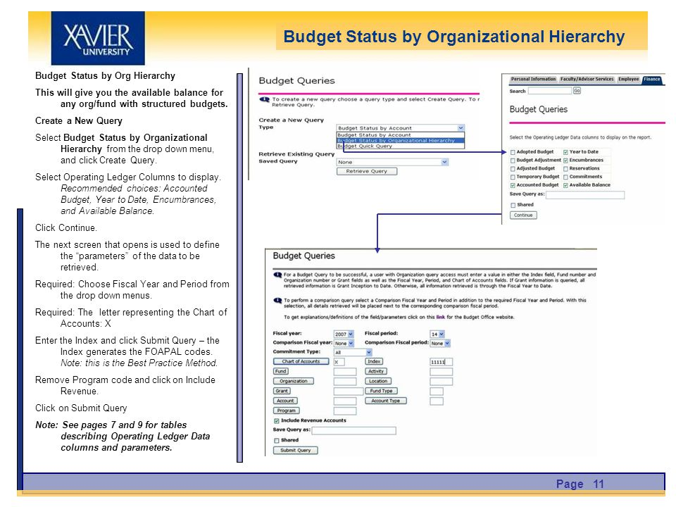Budget Status by Org Hierarchy This will give you the available balance for any org/fund with structured budgets.