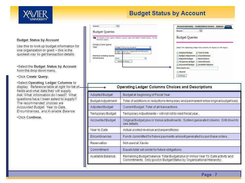 Budget Status by Account Use this to look up budget information for one organization or grant – this is the quickest way to get transaction details.