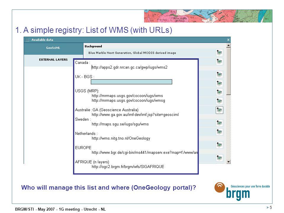 BRGM/STI - May 2007 - 1G meeting - Utrecht - NL > 5 1.