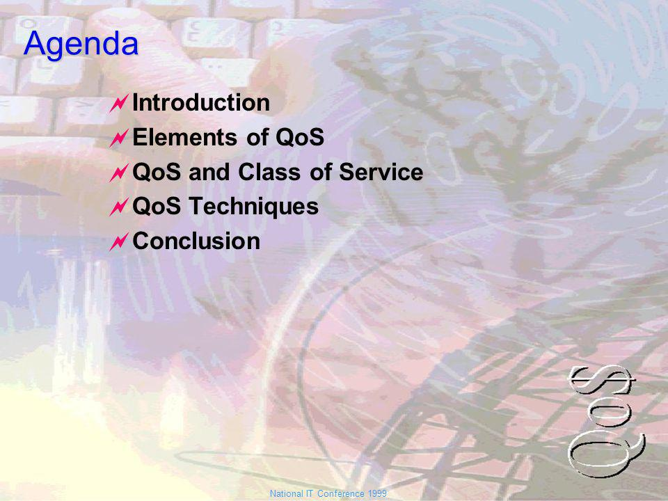 National IT Conference 1999Agenda Introduction Elements of QoS QoS and Class of Service QoS Techniques Conclusion