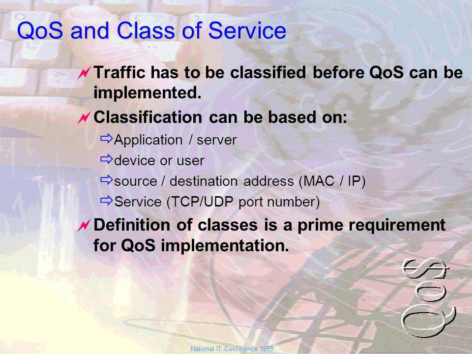 National IT Conference 1999 QoS and Class of Service Traffic has to be classified before QoS can be implemented.