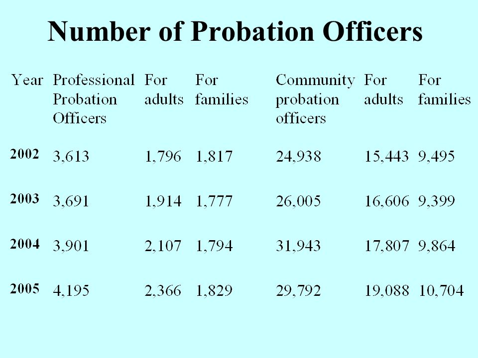 Probation Measures for Adults Year200320042005 By professional73,91280,58194,507 By volunteer181,506198,858206,671 Community Service74,755109,977116,710 Suspended sentence116,2920141,862167,344 Preparation for Release455730981 Temporary Release From custody 717666765 TOTALS447,725532,674587,763