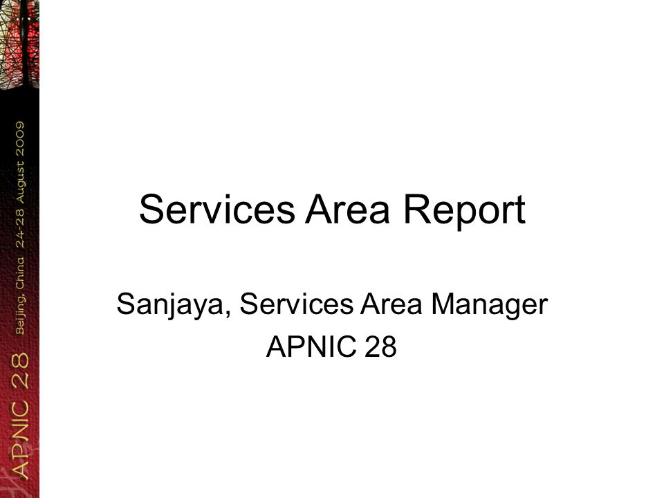 Services Area Report Sanjaya, Services Area Manager APNIC 28