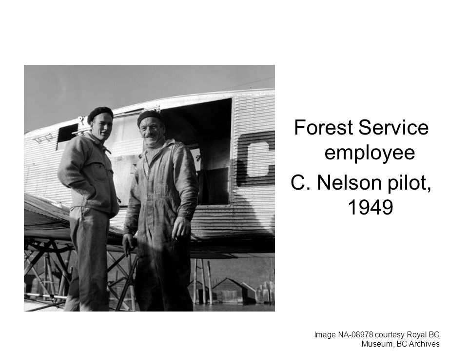 Forest Service employee C. Nelson pilot, 1949 Image NA courtesy Royal BC Museum, BC Archives