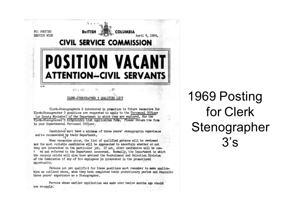 1969 Posting for Clerk Stenographer 3s