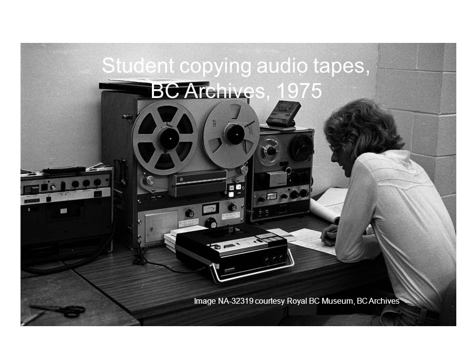 Student copying audio tapes, BC Archives, 1975 Image NA courtesy Royal BC Museum, BC Archives