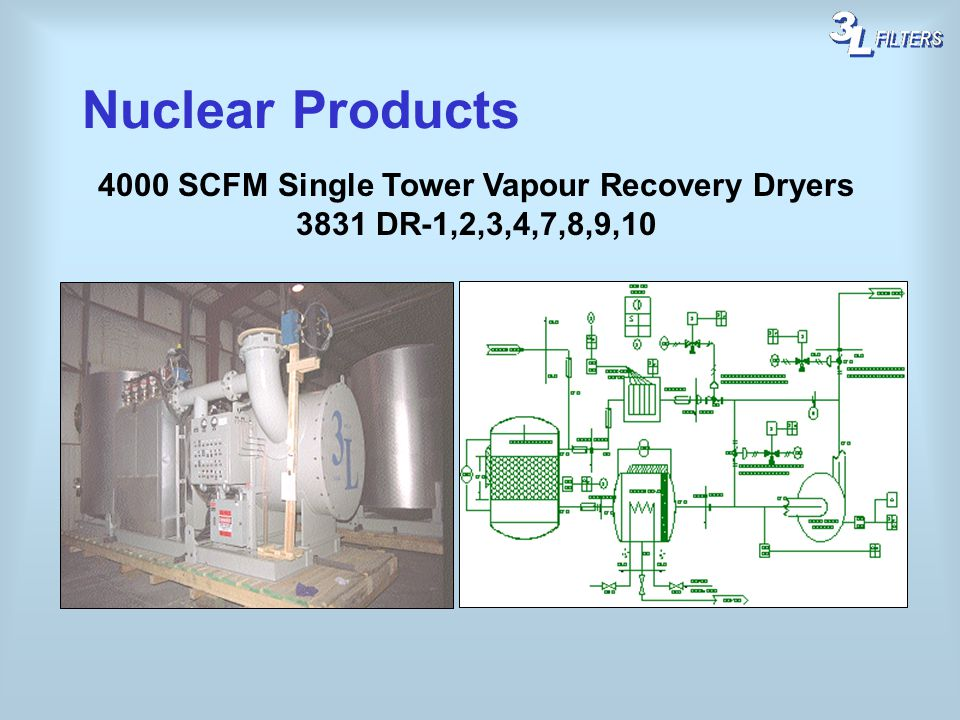 4000 SCFM Single Tower Vapour Recovery Dryers 3831 DR-1,2,3,4,7,8,9,10 Nuclear Products